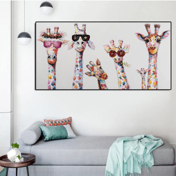 tableaupopartgirafe Le Tableau Girafes Pop Art Pour Une Décoration Originale