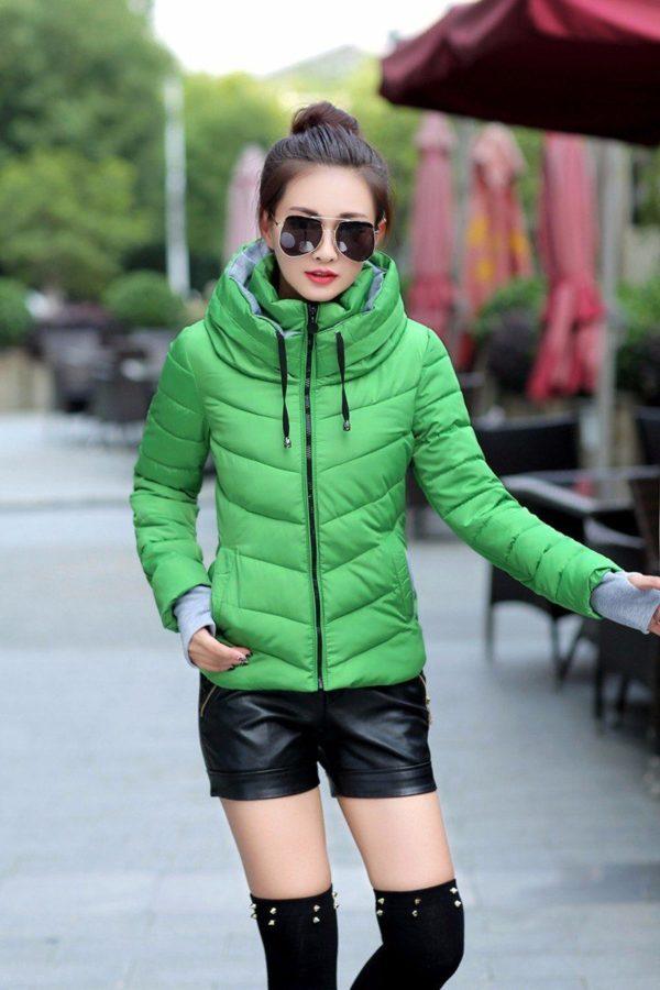 Gros manteau matelassé confortable à capuche Minute Mode Vert foncé M
