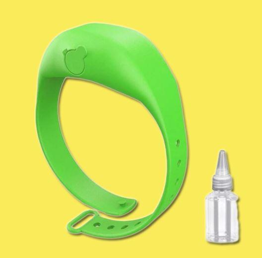 Bracelet Distributeur de gel désinfectant pour les mains - Hygièna™ Raton Malin Vert