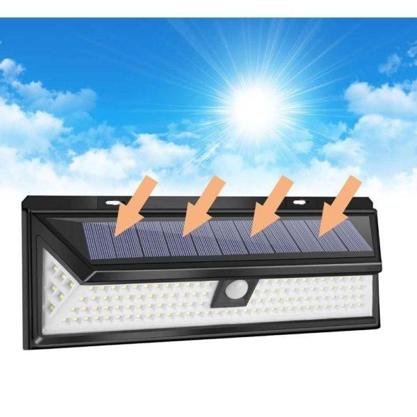 118LEDSolarLightOutdoorSolarLampMotionSensorSolarPoweredSpot 20 Applique Solaire Étanche avec 118 LEDs et 3 Modes : Illumine Votre Jardin