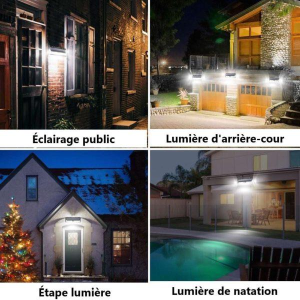 118LEDSolarLightOutdoorSolarLampMotionSensorSolarPoweredSpot 26 1 Applique Solaire Étanche avec 118 LEDs et 3 Modes : Illumine Votre Jardin