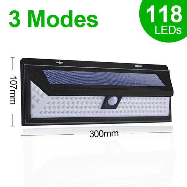 118LEDSolarLightOutdoorSolarLampMotionSensorSolarPoweredSpotl 6 Applique Solaire Étanche avec 118 LEDs et 3 Modes : Illumine Votre Jardin