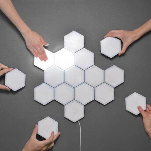 16 pi ces lampe quantique led modulaire tactile sensible clairage lampes hexagonales veilleuse magn tique cr Lampe À LED Magnétique : Lumières Tactiles Modernes et Flexibles