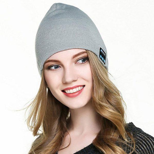 Bonnet D'hiver : Avec Haut-parleur Sans Fil Bluetooth - GRIS CLAIR