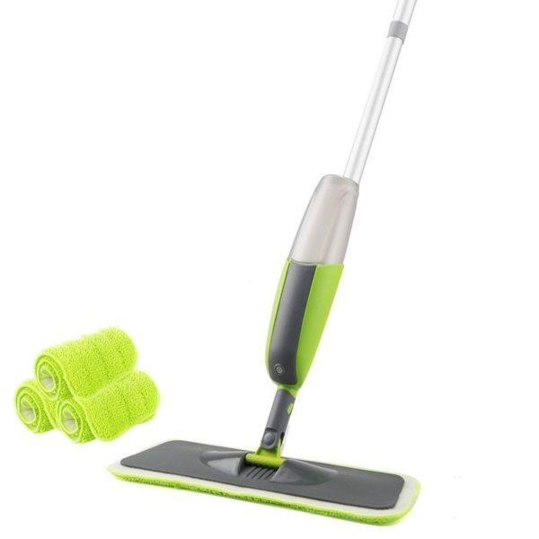 Serpillière Balai Microfibre À Spray Rotation 180 Magique: Pratique Et Très Efficace - Vert / 3 pcs