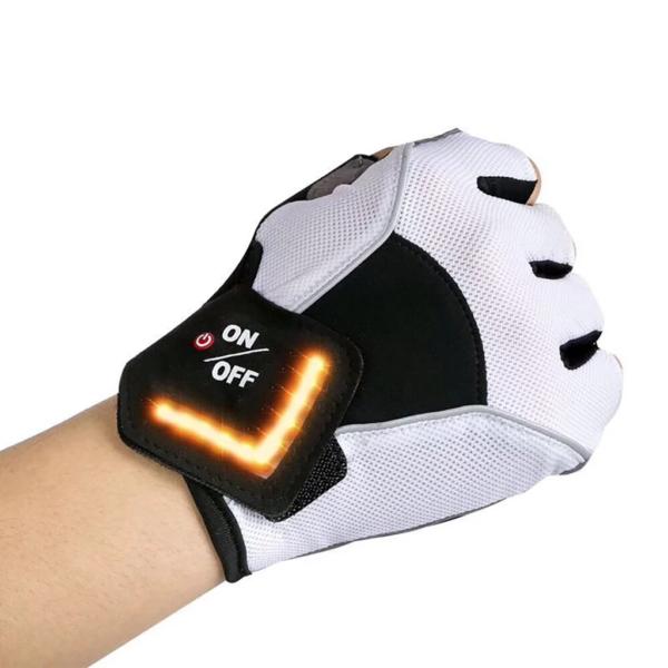 Gant Signal Rechargeables : Vous Permet de Signaler Votre Présence - Blanc / M (19 cm)