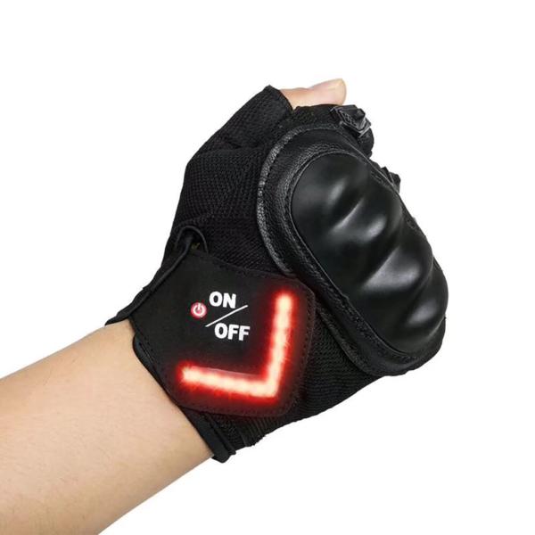 Gant Signal Rechargeables : Vous Permet de Signaler Votre Présence - Noir / M (19 cm)