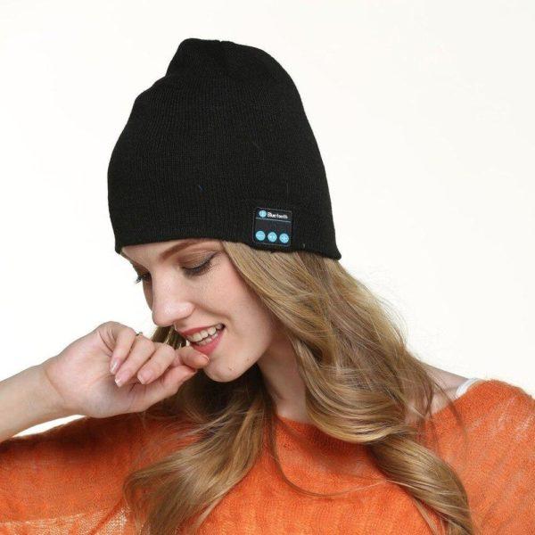 Bonnet D'hiver : Avec Haut-parleur Sans Fil Bluetooth - NOIR
