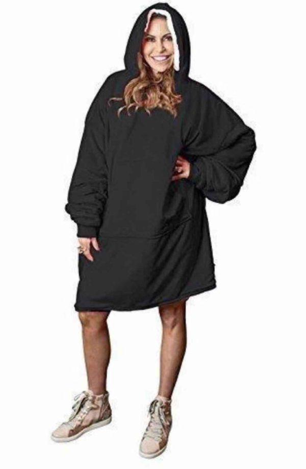 Sweatshirt à Capuche : Sweat à Capuche Géant Que Vous Pouvez Transformer en Couverture! - Noir