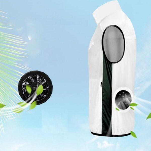 Gilet De Refroidissement Par Ventilateur Pour Hommes: L'été N'est Plus Chaud - Blanc / S(110 cm)