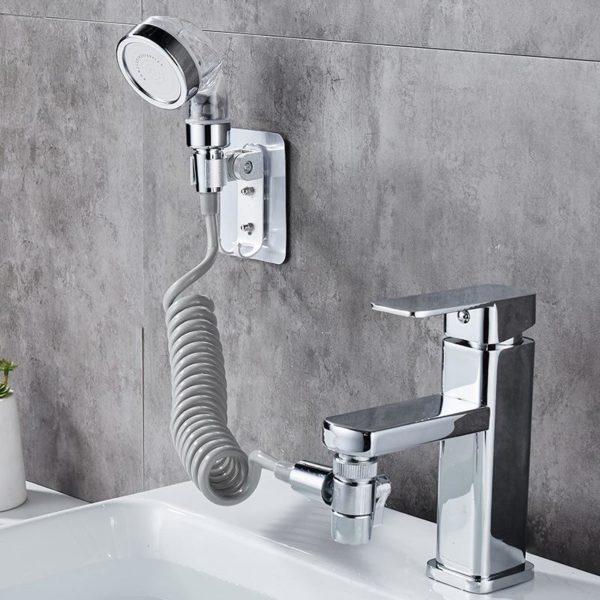 4 Robinet pomme de douche salle de bain Spray lavage visage bassin robinet d eau ext rieur 1 Set De Douche Externe Pour Salle De Bain