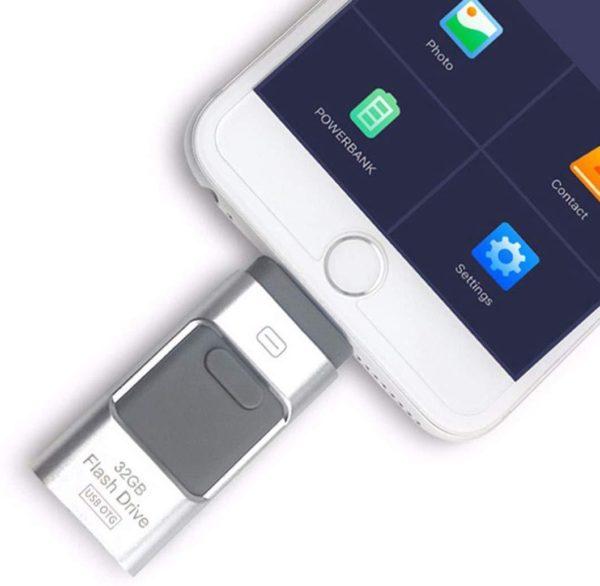 Clé Usb 3 En 1 Pour Smartphone: Sauvegardez Et Restaurez Votre Liste De Contacts - 8 GO / Argent