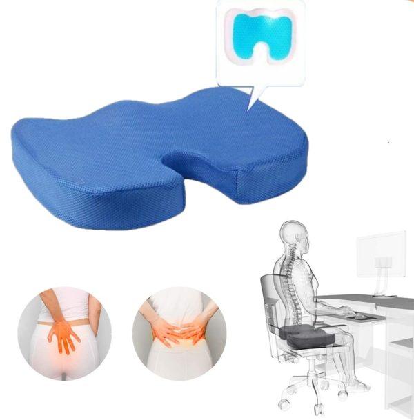 Coussin D'assise Orthopédiqu : Soulage les Maux de Dos et Améliore la Circulation - Bleu
