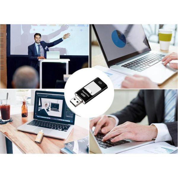 Clé Usb 3 En 1 Pour Smartphone: Sauvegardez Et Restaurez Votre Liste De Contacts - 8 GO / Noir