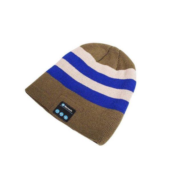 Bonnet D'hiver : Avec Haut-parleur Sans Fil Bluetooth - Bandes Blanc et Bleues