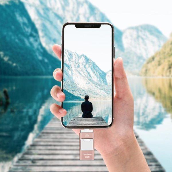 Clé Usb 3 En 1 Pour Smartphone: Sauvegardez Et Restaurez Votre Liste De Contacts - 8 GO / Or rose