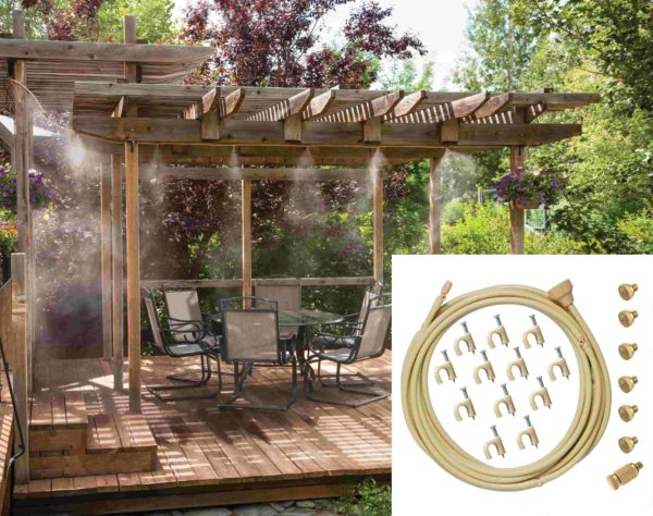 Pulvérisateur D'extérieur De Style Mist: Moyen Performant Et Efficace Pour Lutter Contre La Chaleur - Beige / 600cm