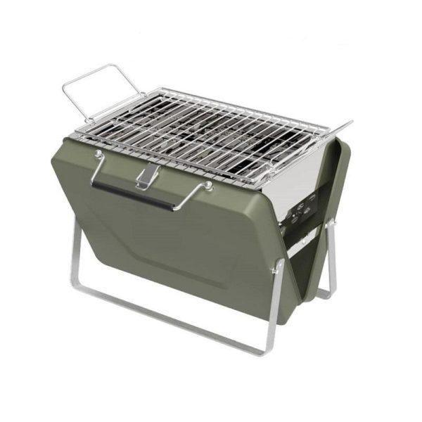 Barbecue Charbon De Bois : Valise Barbecue À Nomade Et Pliable - Vert / 18 x 14 cm