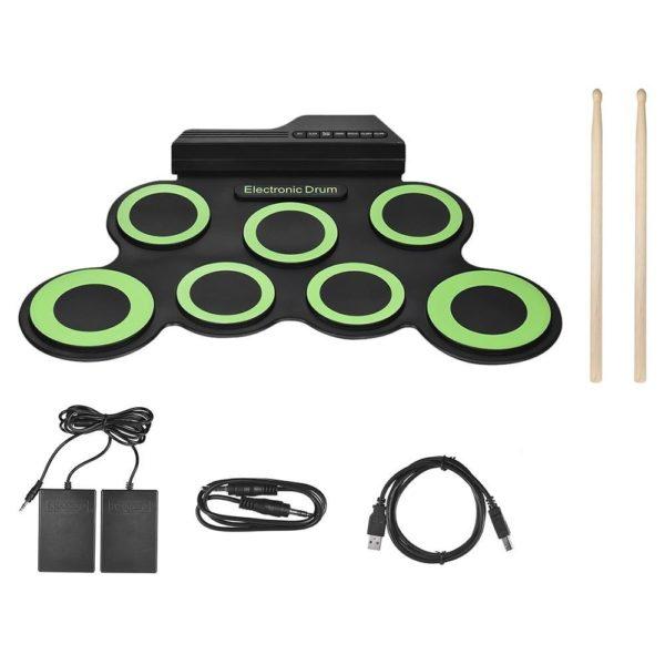 Ensemble De Batterie Électronique En Silicone: Excellent Outil Pour Pratiquer À La Maison - Noir et Vert