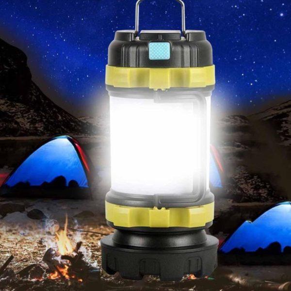 CampLampLEDCampingLightUSBRechargeableFlashlightDimmableSpotlight 17 Lampe de poche USB rechargeable et à intensité variable : Lanterne De Camping 3-en-1