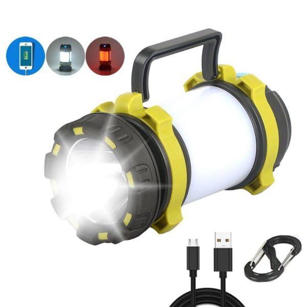 CampLampLEDCampingLightUSBRechargeableFlashlightDimmableSpotlight 24 Lampe de poche USB rechargeable et à intensité variable : Lanterne De Camping 3-en-1