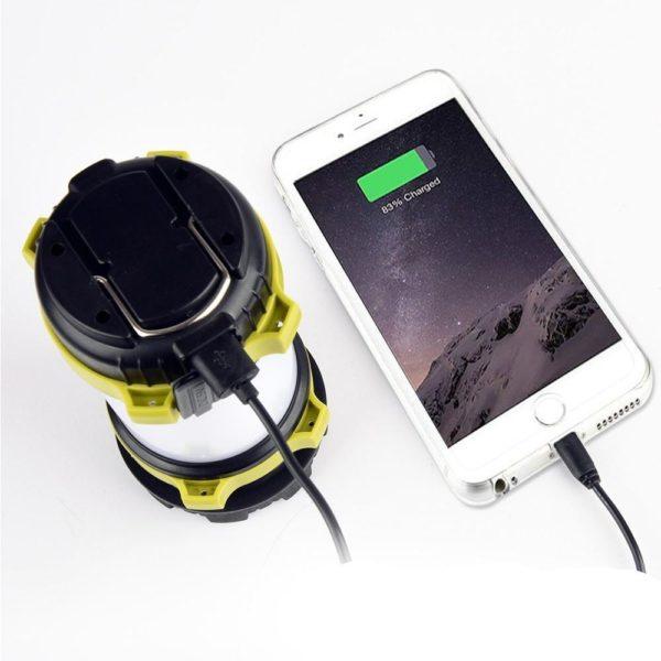 CampLampLEDCampingLightUSBRechargeableFlashlightDimmableSpotlight 35 Lampe de poche USB rechargeable et à intensité variable : Lanterne De Camping 3-en-1