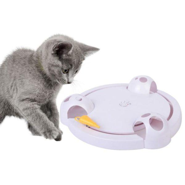 Chat interactif jouet chat dr le automatique rotatif chat jouer Teaser plaque souris et animaux jouets Jouet Pour Chat Rotatif Automatique: Gardez Votre Chat Actif Et En Forme