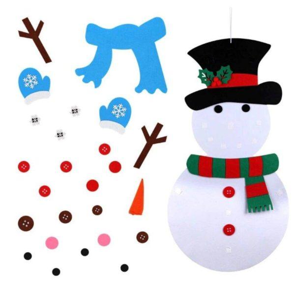 ChristmasTree14 Arbre de Noël pour Enfants : Ornements Colorés Détachables et Feutre Matériel