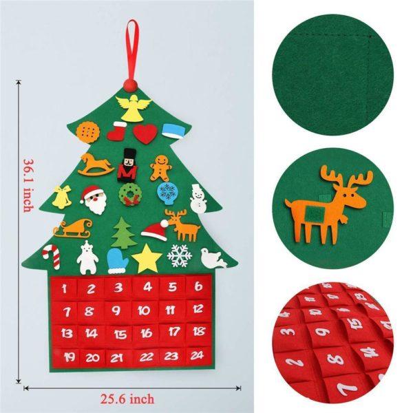 ChristmasTree17 1 Arbre de Noël pour Enfants : Ornements Colorés Détachables et Feutre Matériel