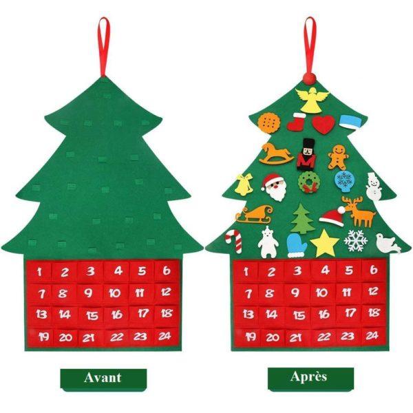ChristmasTree18 1 Arbre de Noël pour Enfants : Ornements Colorés Détachables et Feutre Matériel