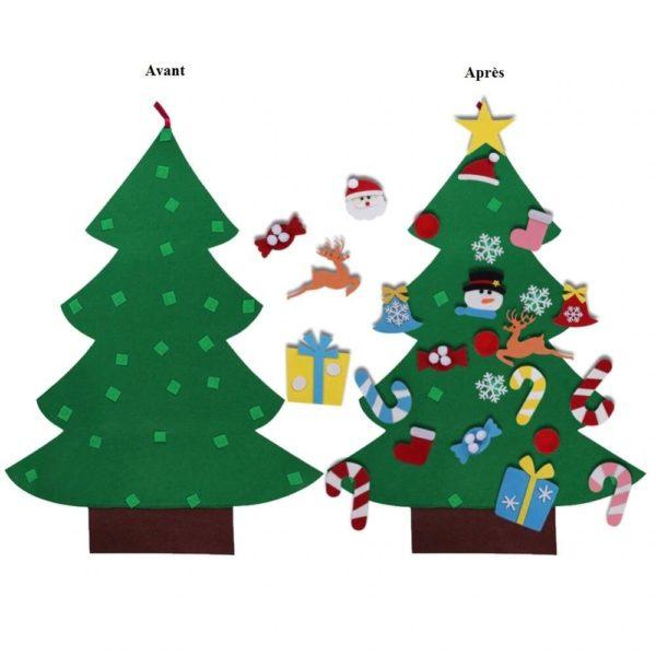 ChristmasTree2 Arbre de Noël pour Enfants : Ornements Colorés Détachables et Feutre Matériel