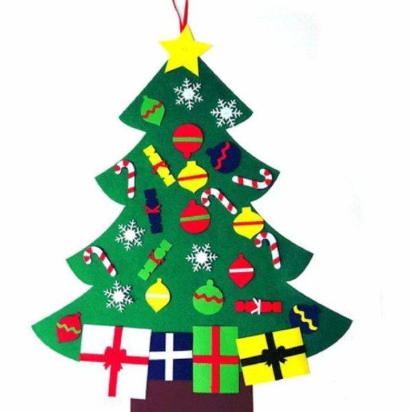 Arbre de Noël pour Enfants : Ornements Colorés Détachables et Feutre Matériel - MODÈLE 4
