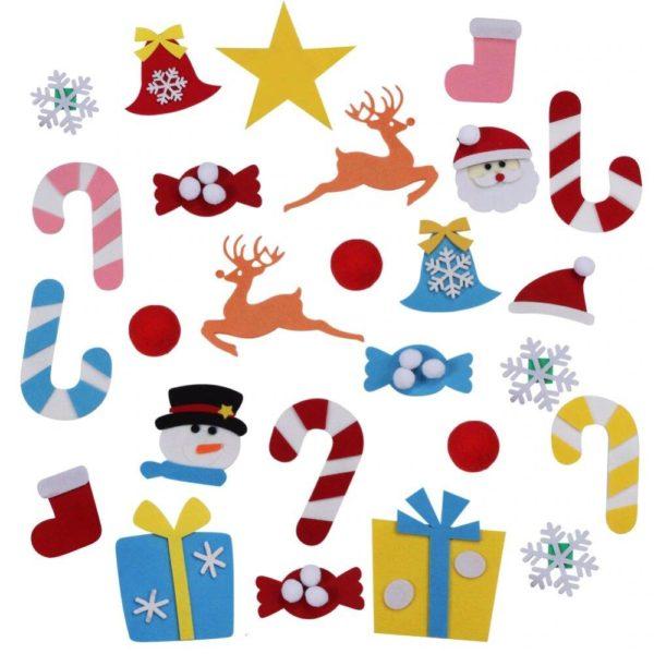 ChristmasTree4 Arbre de Noël pour Enfants : Ornements Colorés Détachables et Feutre Matériel