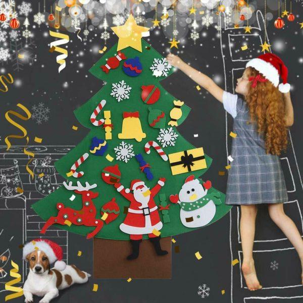Arbre de Noël pour Enfants : Ornements Colorés Détachables et Feutre Matériel - MODÈLE 5