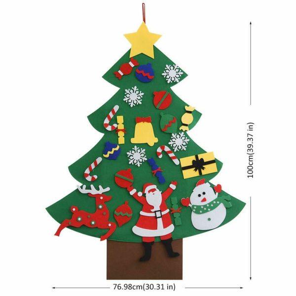 ChristmasTree7 Arbre de Noël pour Enfants : Ornements Colorés Détachables et Feutre Matériel