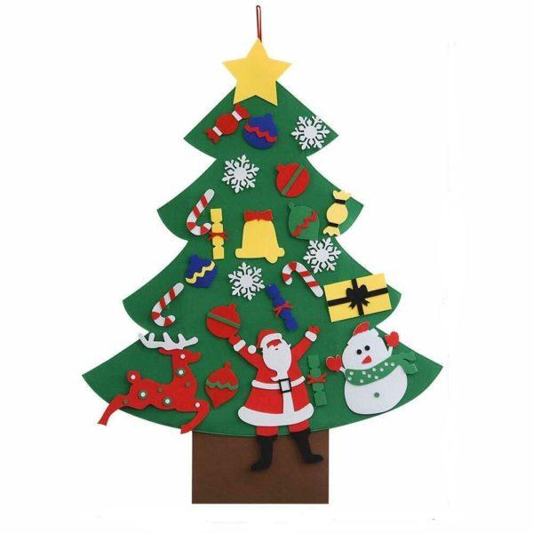 Arbre de Noël pour Enfants : Ornements Colorés Détachables et Feutre Matériel - MODÈLE 1