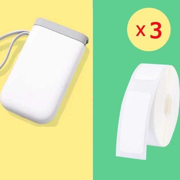 Imprimante D'étiquette Thermique Et Bluetooth: Etiquettez Et Organisez Votre Quotidien - Blanche / 3 Rouleaux De Papier