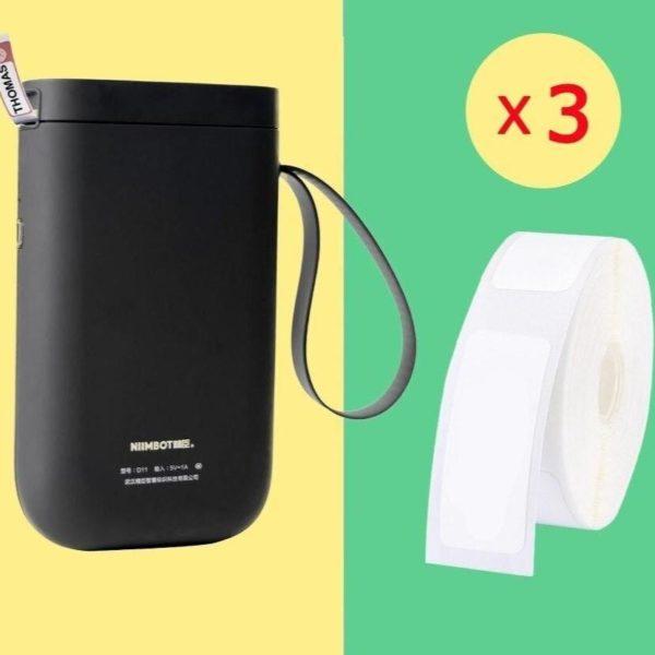 Imprimante D'étiquette Thermique Et Bluetooth: Etiquettez Et Organisez Votre Quotidien - Noir / 3 Rouleaux De Papier