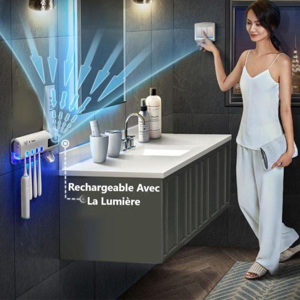 DisinfectionwithtoothpasteDispenserHomeVacuumAutomaticToothpaste 1 Copy Distributeur De Dentifrice Avec Stérilisateur: Lumière Rechargeable et Support Mural Pour Brosse À Dents