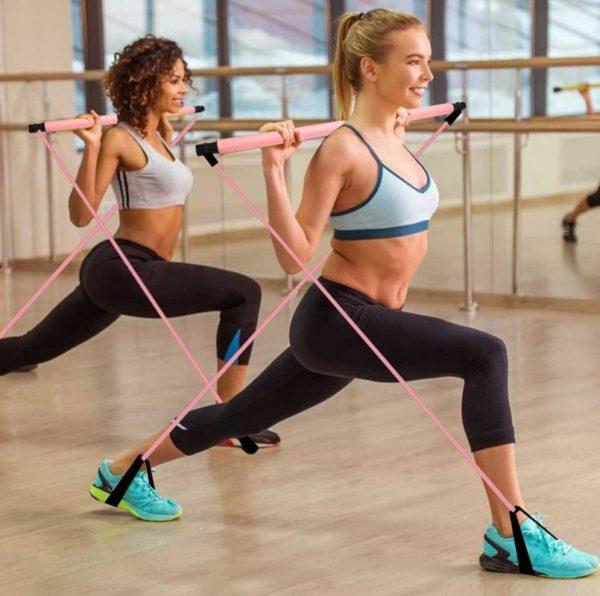 Réglable Bâton de Fitness : Renforcer la Résistance - Rose rouge