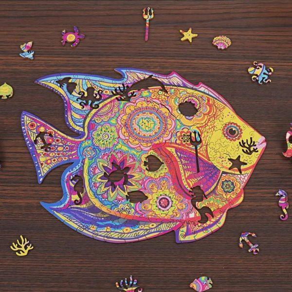 Puzzles D'animaux En Bois: Un Jeu Passionnant Qui Convient Aux Enfants Et Aux Adultes - Poisson / A5
