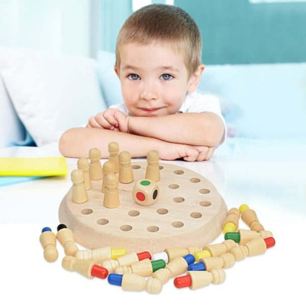 Jeu d checs en bois de b ton de Match de m moire jeu de soci Jeu De Mémoire En Bois: Améliorer L'imagination Votre Enfant De Manière Amusante !