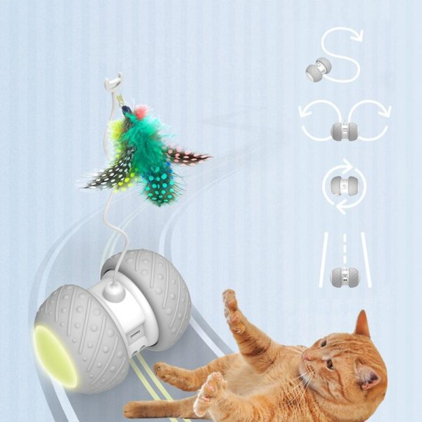 Jouet chat intelligent interactif Mode de rotation lrr gulier jouet chat amusant jouet lectronique chat jouet Jouet Intelligent Pour Chat: Éliminer Les Sentiments De Tristesse Et D'ennui De Votre Chat