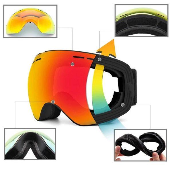 Lunettes de Ski lunettes de Sports de neige d hiver avec Protection Anti bu e UV 9a3ba2a2 a5ee 45c7 9be7 46586dc6ee5a Masque De Ski : La Meilleure Protection Pour Vos Yeux Contre L'eblouissement