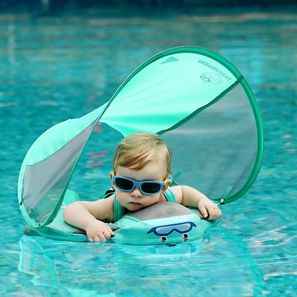 Mambo Flotteur : Bouée Bébé, Votre enfant peut jouer dans l'eau confortablement (3 à 24 mois) - Vert / Sans Parasol