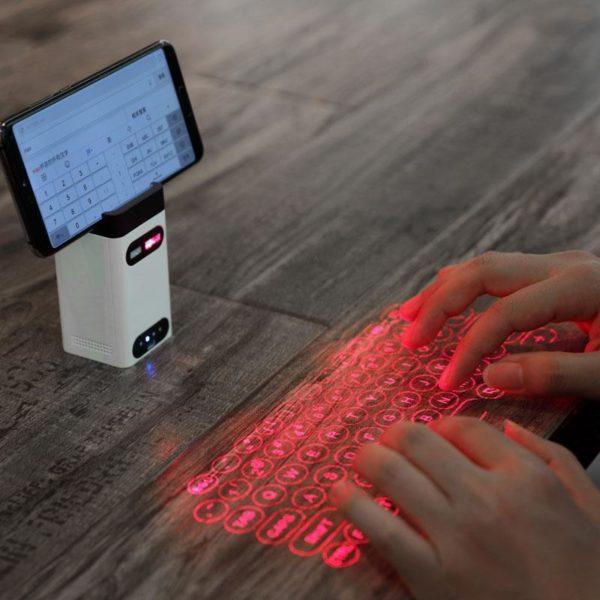 Clavier De Projection Sans Fil De De Laser : Prend En Charge Usb Et Bluetooth - Blanc