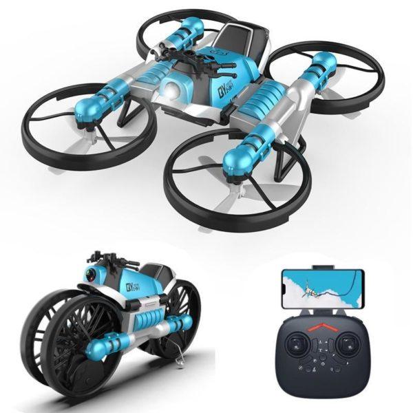 Quadricoptère Pliant : Avec Transmission Wifi En Temps Réel - Bleu avec télécommande