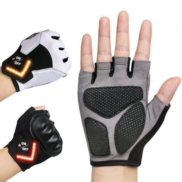 Motorcycle Bike Half Finger Smart Glove Women Cycling Gym Anti slip Pad Riding Tactical Gloves LED Gant Signal Rechargeables : Vous Permet de Signaler Votre Présence
