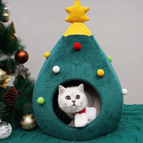 Lit De Chat De Noël: Gardez Vos Chats Au Chaud Les Jours Froids - M(60x42x40 cm)