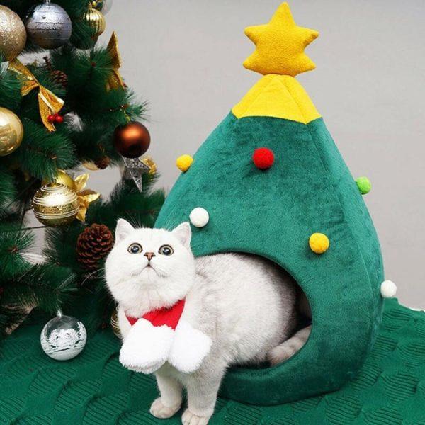 Nid de chat de no l doux chien chat lit maison arbre forme tapis de lit 985b4194 ea9d 4cf1 ac17 98d535b762a8 Lit De Chat De Noël: Gardez Vos Chats Au Chaud Les Jours Froids